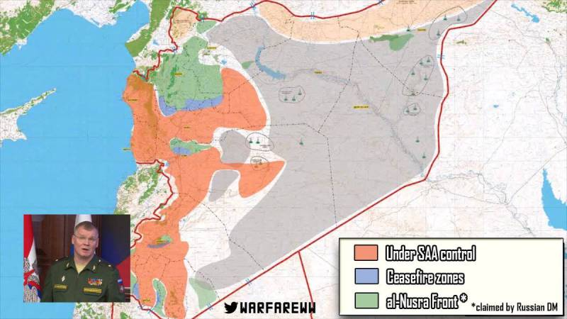 Map of Syria explaining ceasefire